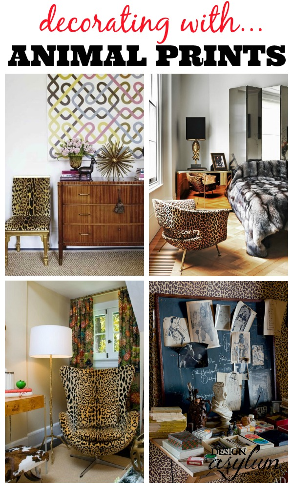 A fun neutral - Animal Prints! They can go with any style in any space! Decorating with Animal Prints