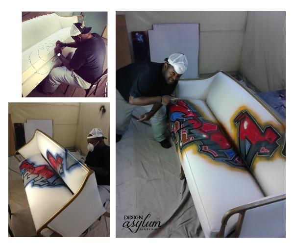 Artist Jody Harris graffitiing a sofa for interior designer Kellie Smith