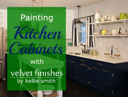 Thinking about painting your kitchen cabinets? Velvet Finishes 1-2-3 step process makes this seemingly overwhelming task SUPER EASY!! Follow along as we transform this kitchen! Video included in post.