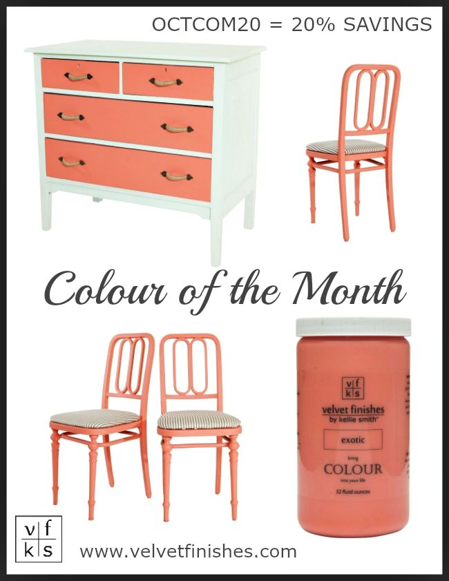 The October Velvet Finishes Colour of the Month is Exotic. Alluring and mysterious, Exotic is a dazzling shade of coral. Use code OCTCOM20 for a 20% savings.