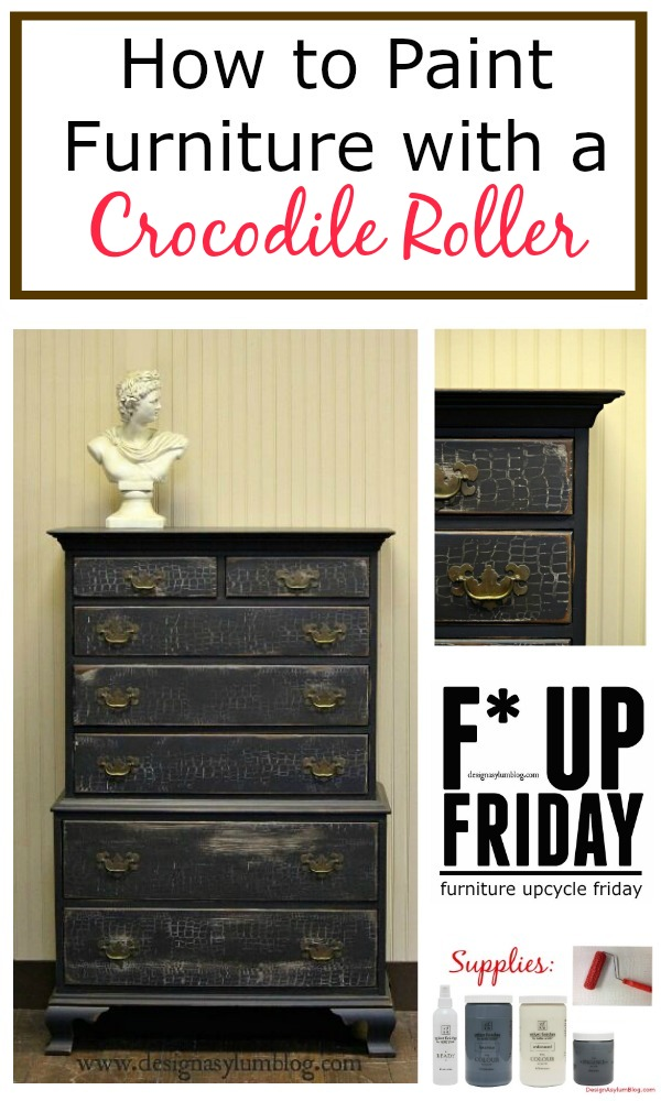 It's another Furniture Upcycle Friday! Let Velvet Finishes and a patterned roller transform your furniture. Paint, roll, sand, glaze. An easy update!