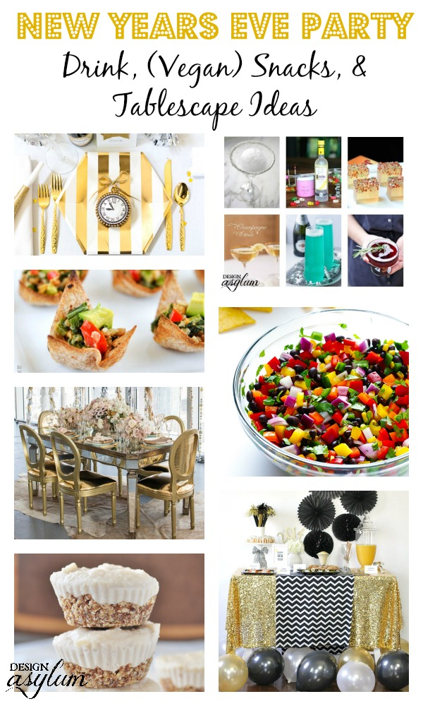 If you're looking for drinks, vegan snacks, and sparkling tablescape inspiration for your New Years Eve par-tay you're in luck!