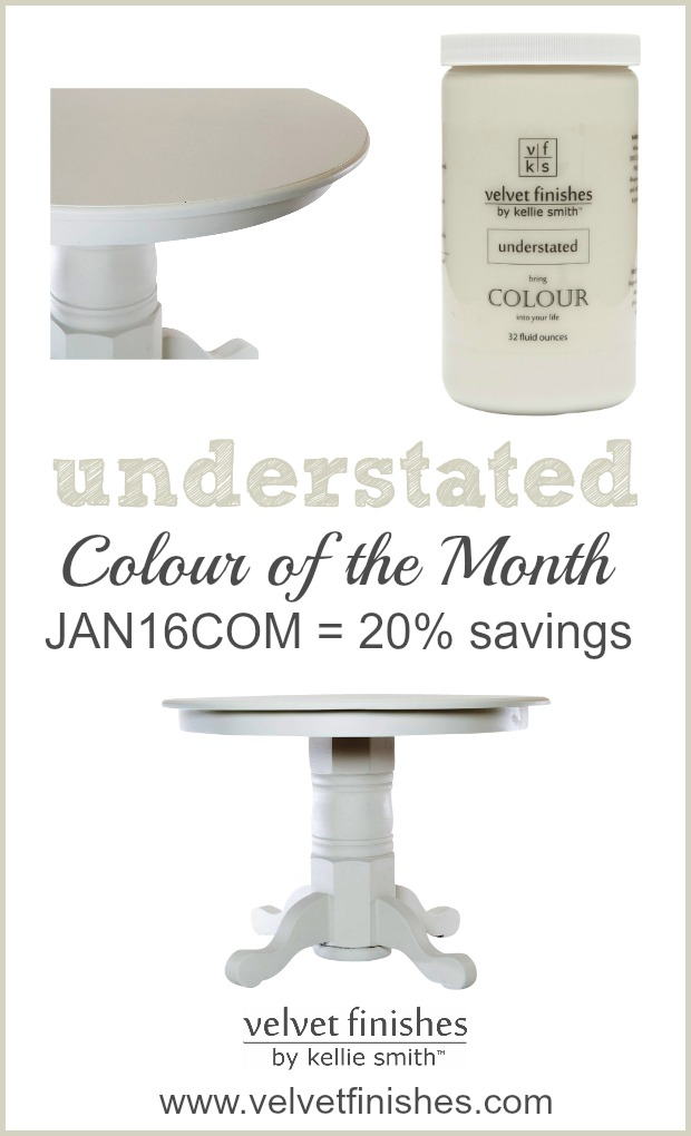 Velvet Finishes Colour of the Month is Understand. This beautiful shade of beige has just a hint of a green undertone. Receive 20% savings w/ code JAN16COM