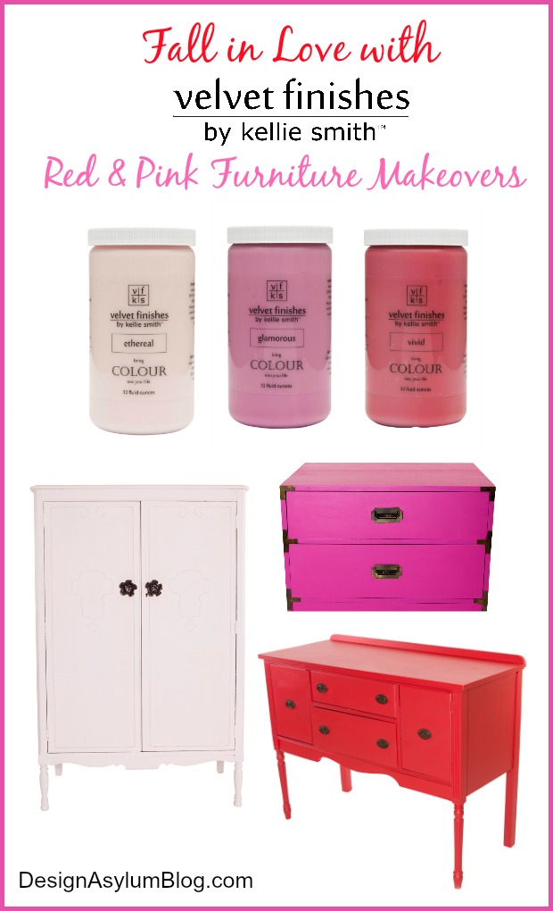 Fall in love with these Velvet Finishes Red and Pink Furniture Makeovers - these DIY furniture makeovers are perfect for the Valentine's Day holiday. Go ahead and fall in love with Velvet Finishes furniture paint.