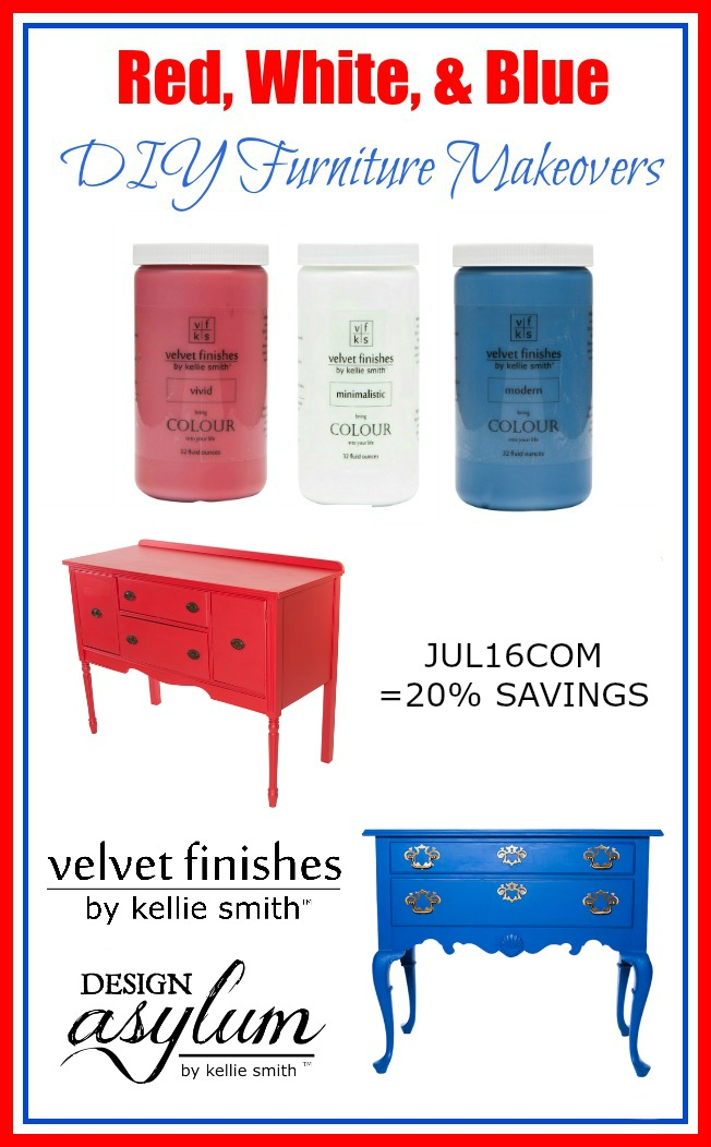 Check out these Red, White, and Blue DIY Furniture Makeovers using Velvet Finishes! Receive 20% savings on these July Colours on the Month using code, JUL16COM