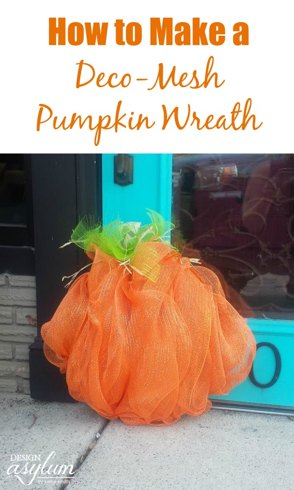 Make this DIY Fall Wreath - a Tutorial on How to Make a Deco Mesh Pumpkin Wreath with materials from your local craft store! #diywreath #fallwreath